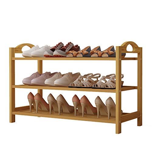Udear scarpiera, panca per scarpiera in bambù, cremagliera di bambù con 3 ripiani, ideale per ingresso, soggiorno e corridoio