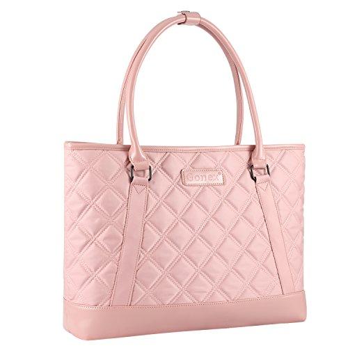 Frauen Laptop Tasche, GOnex 39,6cm leicht Tablet Handtasche Schultertasche Aktentasche für Business Arbeit Reise rose gold