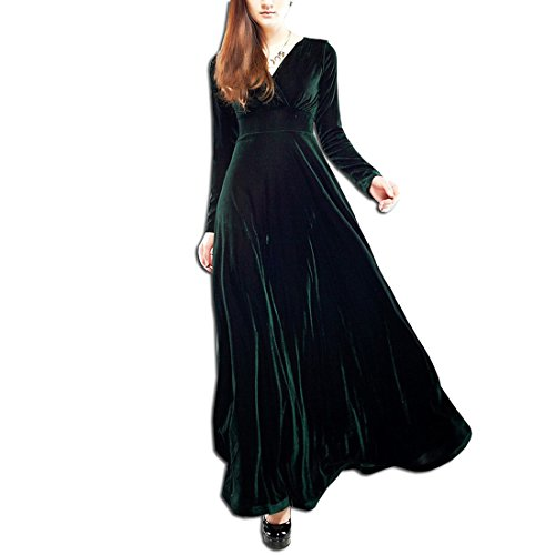 KAXIDY Damen Langes Kleid V-Ausschnitt Lange Langarm Samt Abendkleider Partykleider Cocktailkleider (Large, Schwarz-Grün) (Schwarzer Kleid Langen Samt)
