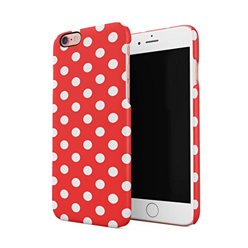 Crimson Red Polka Dots Pattern Dünne Rückschale aus Hartplastik für iPhone 6 & iPhone 6s Handy Hülle Schutzhülle Slim Fit Case Cover Hearts Hard Case, Snap