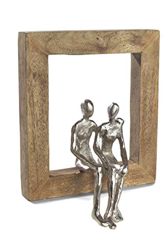 Moritz Skulptur Rahmen Gemeinsam was kommt Mangoholz/Alu massiver Mangoholz - Rahmen Handarbeit 22,5 x 25 cm