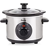 Swan SF17010N 1.5 Litre Oval Stainless Steel Slow Cooker with 3 Cooking Settings, 120W, Silver