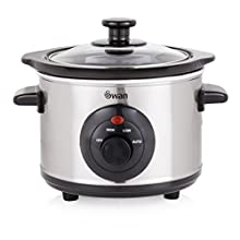 Swan 1.5 Litre Oval Stainless Steel Slow Cooker with 3 Cooking Settings, 120W, Silver