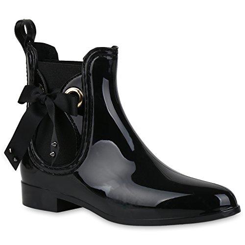 Damen Schuhe Stiefeletten Gummistiefel Lack Regenstiefel Nieten Boots 159165 Schwarz 41 Flandell