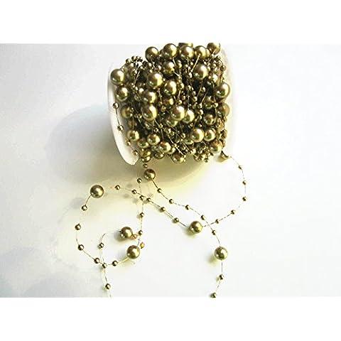 15m Perline Ghirlanda 3 e 8 mm: Oro - Oro Collana In Rilievo