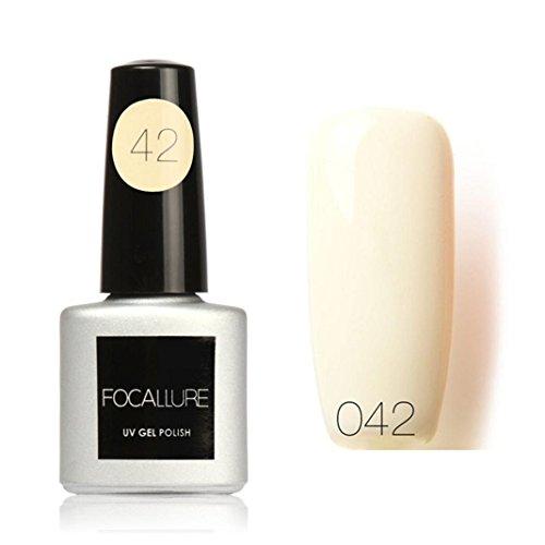 7ml Colle à ongles,Sisit Focallure 95 Couleurs Solide Couleur Gel Polonais Nail Art Gel Polonais UV LE (Modèle M)