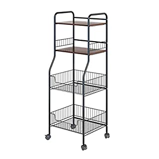 Anyu Metal Rack Kitchen Rack, Multi-Layer Floor Household Items Storage Storage Basket, Fruit and Vegetable Basket