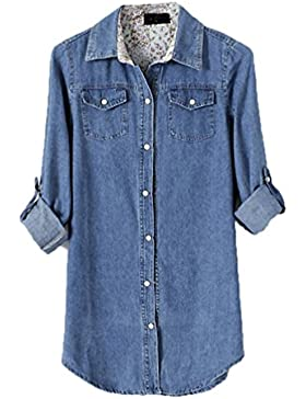 Mujeres Casual Midi Manga Larga Camisa Blusa De Mezclilla Solapa Denim Vaqueras Color Sólido Con Botones Azul...