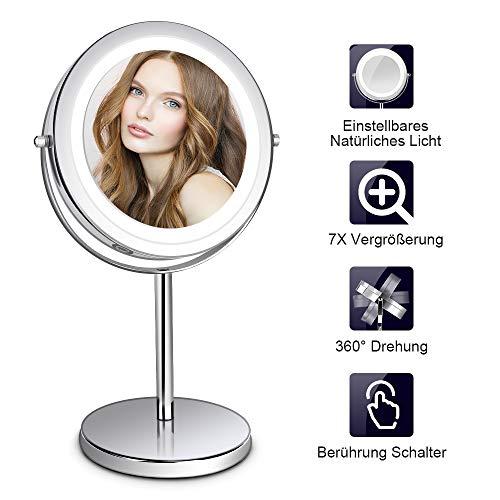 KosmetikspiegelLED mitLicht - 7X Schminkspiegel Beweglich Rasierspiegel, 360° Schwenkbar Badspiegel, Batterie-Betrieb, Weiß Licht, 32CM Höhe, Edelstahl für Kosmetik Rasur Bad Zuhause