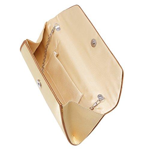 Damara Schleife Fashion Satin Party Hochzeit Abendtasche Kettentasche, Beige Gold