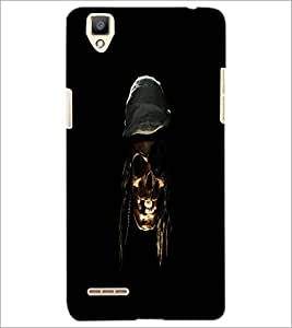 PrintDhaba Pirate's Skull D-1181 Back Case Cover for OPPO F1 (Multi-Coloured)