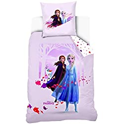 Disney La Reine des neiges 2 Parure de lit 140 x 200 cm 1 pers, Parme, 140 x 200 + 63x 63 cm