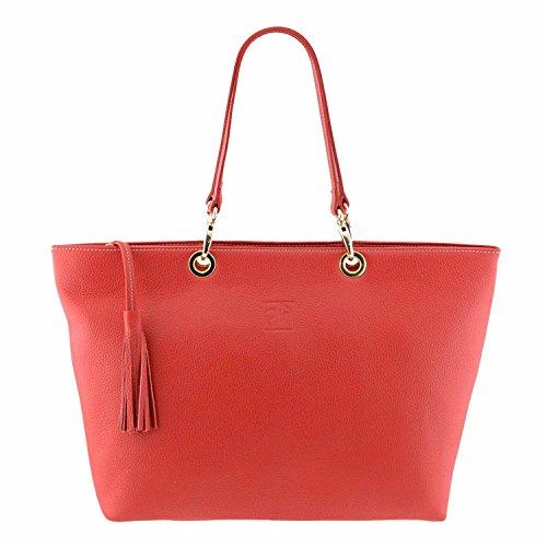 cestino in pelle Maxi borsa stile Rosso