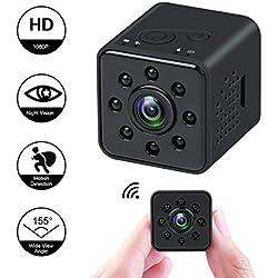 HankerMall Caméra Mini-caméra 1080P HD Spy Vision Nocturne CMOS Caméra 155 Degrés Étanche Caméra Cachée Support Mobile WiFi Détection de Mouvement pour FPV Drone