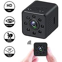 Mini cámara 1080P HD Videocámara espía Visión Nocturna Cámara CMOS 155 Grados Soporte de cámara Oculta