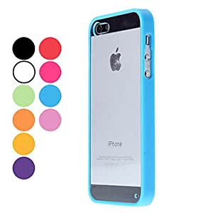 Transparent Design Durable Hard Case for iPhone 5/5S (Assorted Colors) --- COLOR:Blue