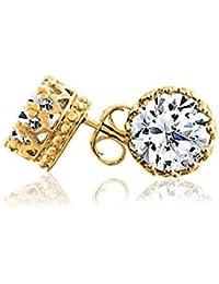 Bling Jewelry Hombre Oro Vermeil Ronda CZ Plata Esterlina Crown stud arete