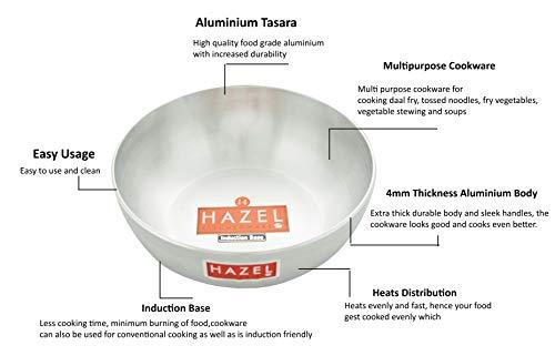 HAZEL Aluminium Induction Bottom 4mm Tasra, 3100 ML, Silver