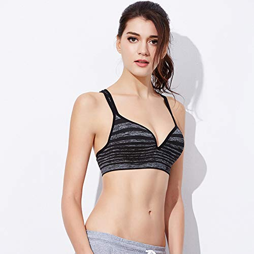 YUHUALI Yoga Running BH ohne Rand Gestreifte Beauty Back Unterwäsche Fitness Weste Schwarz XL = 85/38BCD -