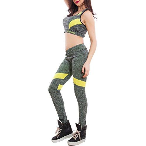 Toocool - Tuta donna sport completo top canotta vogatore pantaloni fitness nuova SL9085 Grigio/Giallo