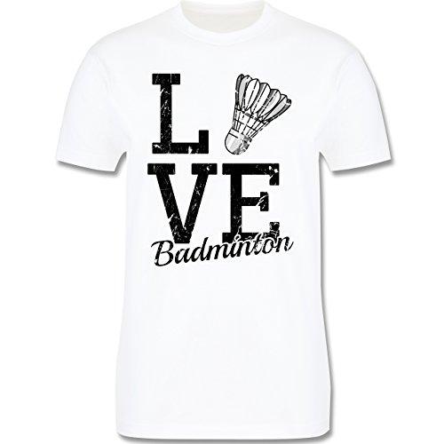 Sonstige Sportarten - Love Badminton - Herren Premium T-Shirt Weiß