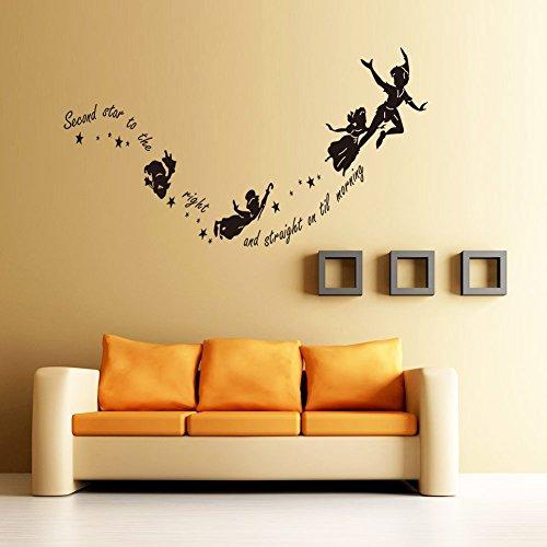 Demiawaking - Vinilo adhesivo para pared, diseño con frase «Second Star to the Right...», para guardería o dormitorio
