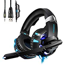 Cuffie Headset con Microfono HUOU Multi-Platform New Xbox one PS4 Gaming Headset Pro Cuffie per pc auricolari con Controllo del volume dell'orario LED per i giocatori del PC (Blu)