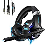 Auriculares Gaming Cascos ,HUOU Cascos Gaming con Luz LED para PS4 / PC / Xbox One Gaming Headset con Control de Volumen,Bass Surround Cancelacion ruido,Diadema Acolchada y Ajustable-Azul