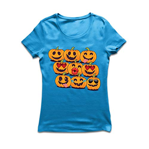 lepni.me Frauen T-Shirt Kürbis Emoji Lustiges Halloween-Party-Kostüm (Medium Blau Mehrfarben)