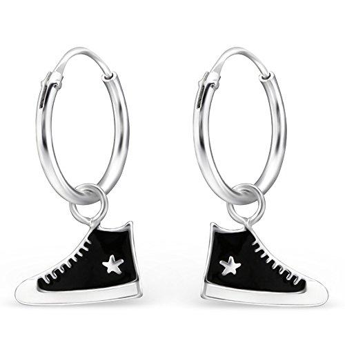 JAYARE Kinder Creolen Sneaker Turnschuhe 925 Sterling Silber 18 x 11 mm schwarz weiß Mädchen-Ohrringe im Schmuck-Etui