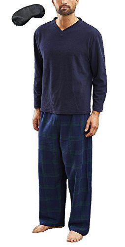 i-smalls Herren Warm Winter Schlafanzug Set Fleece Top Karo Hose Gr. X-Large, Newquay Navy (Fleece Pyjama Set)