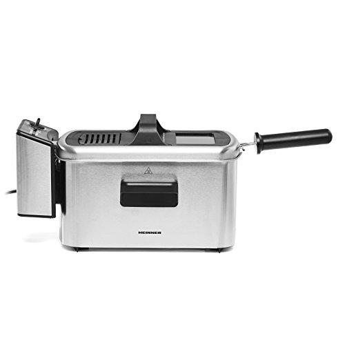 Heinner Fritteuse - Premium Öl-Filtration Edelstahl Fritteuse 3 L Frittierkorb für Pommes, Bratfisch, Zwiebelringe, Chicken Nuggets - Temperaturkontrolle & Timing
