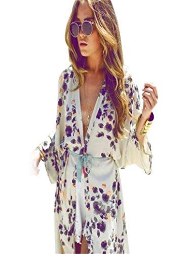 Ineternet Femmes Long Manteau Kimono en Mousseline de Soie Imprimé Floral(Ceinture ne Comprend Pas) (S, Blanc) Ineternet