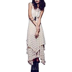 La Mujer Bohemia Encaje Crochet Scoop Cuello Alto - Bajo 3 Capas Irregulares Solid Swing Maxi Dress Beige XL