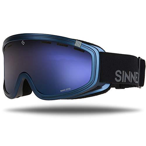 Sinner Skibrille Snowboard Brille UV Schutz Anti-Fog Skibrille fur Damen und Herren.Ski Goggle ist Skihelm kompatibel und besonders geeignet für Brillenträger.(Matte Blau, Braun Blau Spiegel)