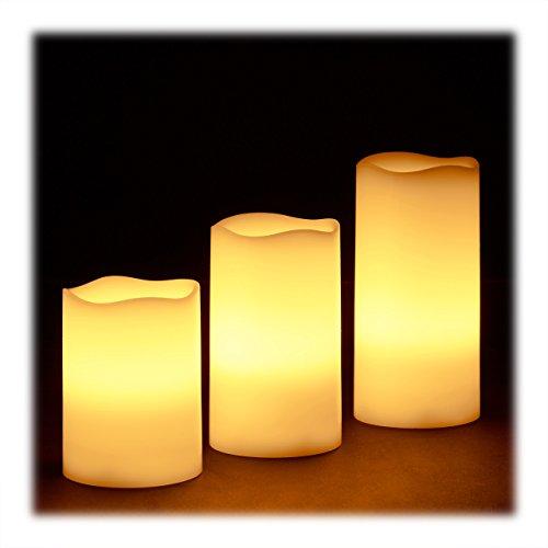 Relaxdays Set de 3velas LED de cera, Eléctrico Sin Llama Velas, parpadeante, funciona con pilas, brillante, HxWxD: 13X8X 8cm), color crema
