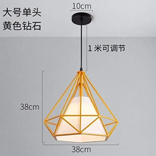 Lampadario a navata singola con diamanti di grandi dimensioni - sezione gialla di diametro 38 cm con lampadina a luce bianca monocromatica da 9 watt a led
