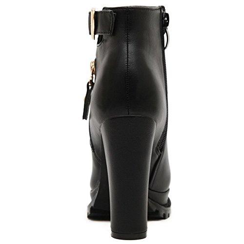 AgooLar Damen Reißverschluss Schließen Zehe Hoher Absatz Knöchel Hohe Stiefel mit Schnalle Schwarz