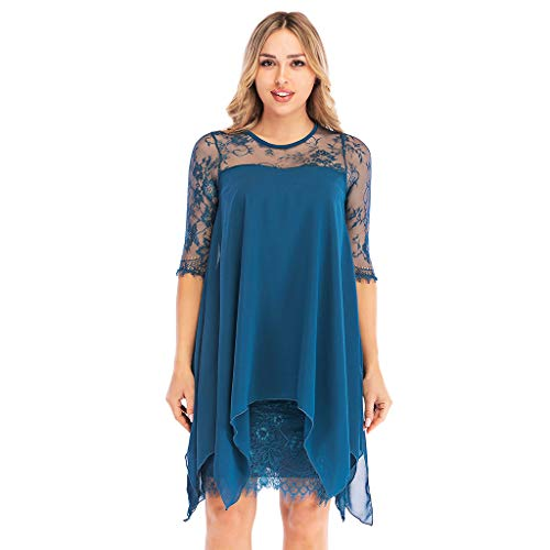 Mounter-Dress Damen Übergröße S-5XL Chiffon Spitze Kleid Overlay Dreiviertel 3/4 Ärmel Layered Iregular Saum Kleid Oversized Abendparty Abschlussball Bodyon Bleistiftkleid Gr. Medium, Denim-blau -