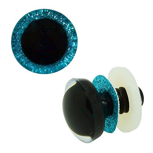 maDDma ® 1 Paar Glitzer-Augen Blau 20 mm, Sicherheitsaugen Puppen, Teddies, Kuscheltiere