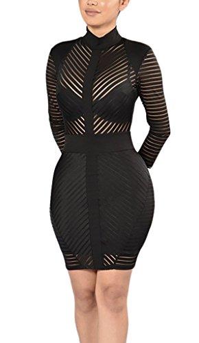 Mesdames Robes D'Été Courtes Moulante Transparente Chic Robes Rétro Robes De Soirée Robes Moulantes Noir