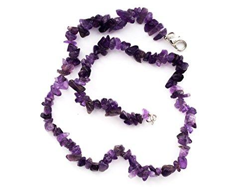 Taddart minerals - splitter viola collana in pietra ametista naturale con 45 cm di lunghezza - fatto a mano