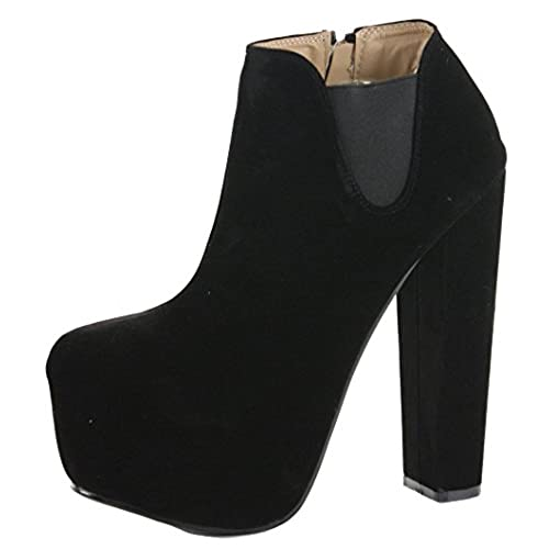 FrontCover Style 4 Black Faux Suede Size 6 - Womens Ladies Chelsea Mid High  Heel Booties Heeled Block Platform Winter Ankle Boots