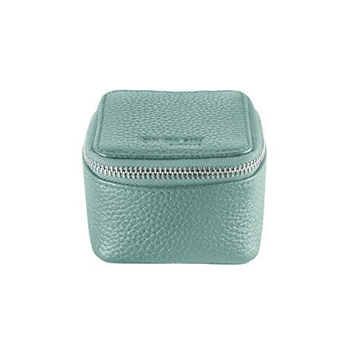 CHI CHI FAN Ring Box - Mint   Schmuckkästchen aus echtem Leder   Top Qualität und klares Design treffen auf maximale Funktion   Optimaler Schutz für Schmuck wie Ringe, Ohrringe oder Uhren