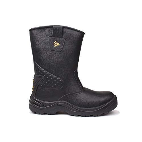 DUNLOP Safety Herren Rigger Arbeitsstiefel Wasserdicht Stiefel Sicherheit Schuhe Schwarz 9 (43) - Steel Wasserdicht Stiefel Toe Arbeit