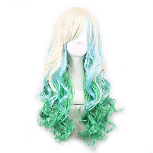aarperücken Anime Cosplay Hitzebeständiges Spiral Lockige Perücke + Cap 28inches (weiß grün) (28 Japanische Halloween-kostüme)