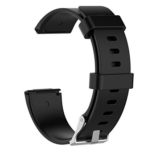 "XIHAMA Armband kompatibel mit Fitbit Versa 2 / Versa / Versa Lite, Silikon Ersatzband Fits 5.5\""-7.1\"" Fitness Sport Ersatzarmband (black)"