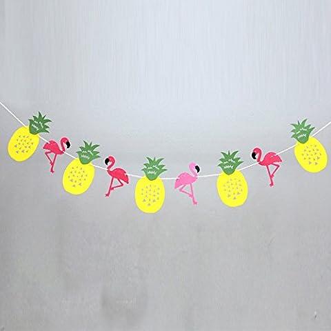 Lanlan hawaiianischen Stil Flamingo Party Banner Dekoration für Luau Party Sommer Strand Girlande Banner Home (Hawaiianische Ananas)