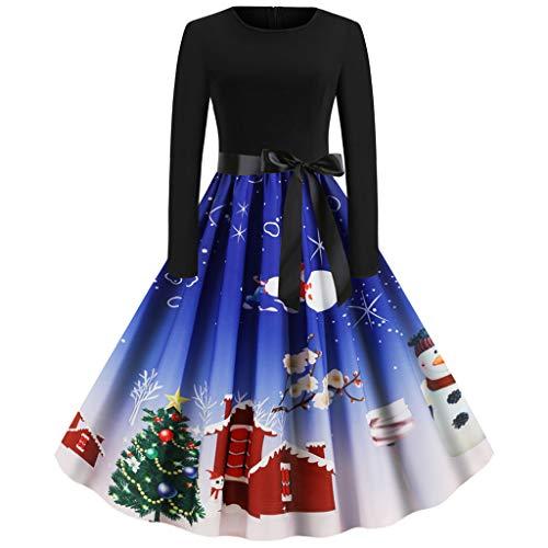 Auiyut Damen Partykleid Weihnachtskleider Retro Cocktailkleid mit Bowknot Gürtel Herbst Winter Kleid Freizeit Kleid Knielang Elegante A-Linie Kleider Langarm Weihnachtsfeier Kostüm Schneemann Muster