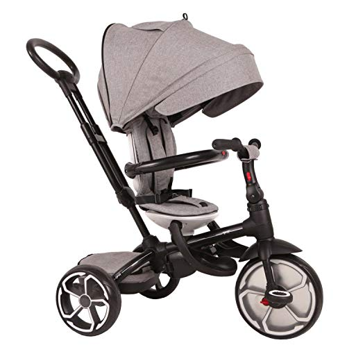 QPlay Kinder Luxus Dreirad Prime Grau mit UV-Dach, Freilauf, Lenkstange, Tasche